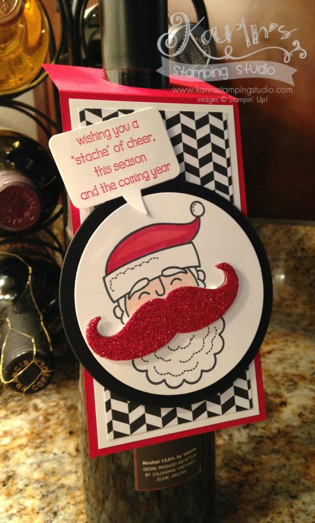 Santa Stache Wine Bottle Tag